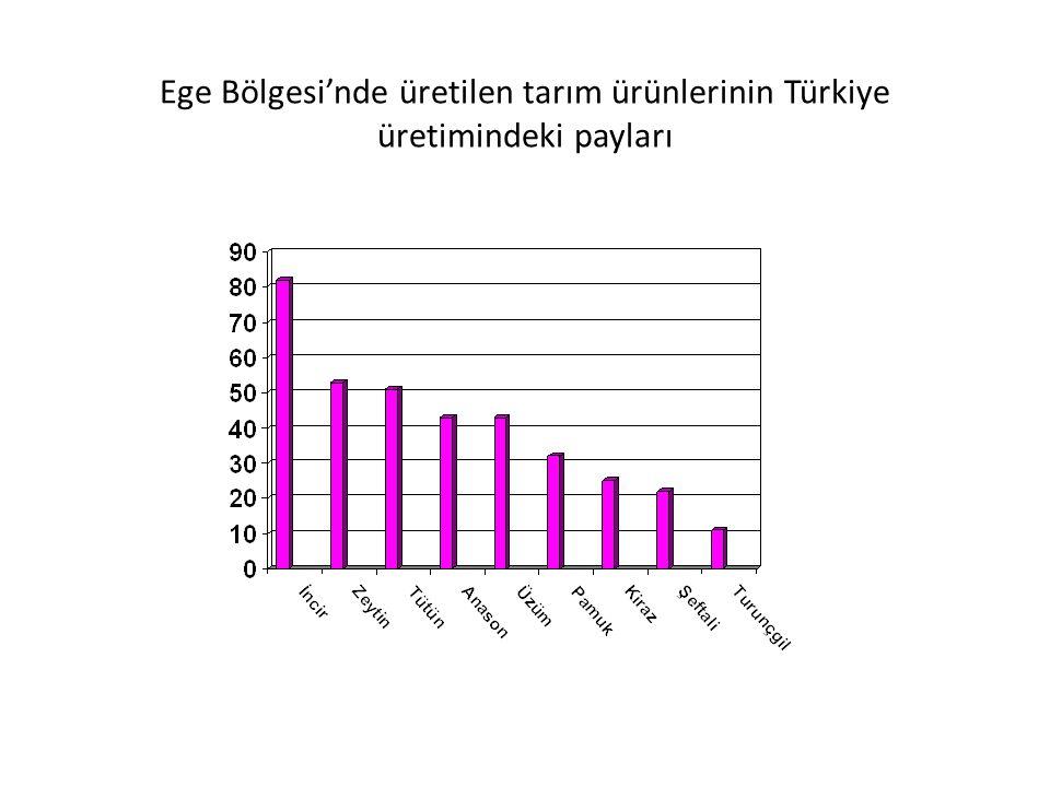 Ekonomik Özellikleri Tarım Ayvalık ve Edremit'te zeytin üretim alanı (Zeytinyağı fabrikalarının çoğu buradadır.) Bakırçay Ovası ve İzmir çevresi tütün