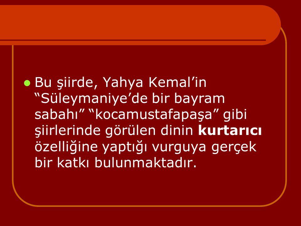 Bu şiirde, Yahya Kemal'in Süleymaniye'de bir bayram sabahı kocamustafapaşa gibi şiirlerinde görülen dinin kurtarıcı özelliğine yaptığı vurguya gerçek bir katkı bulunmaktadır.