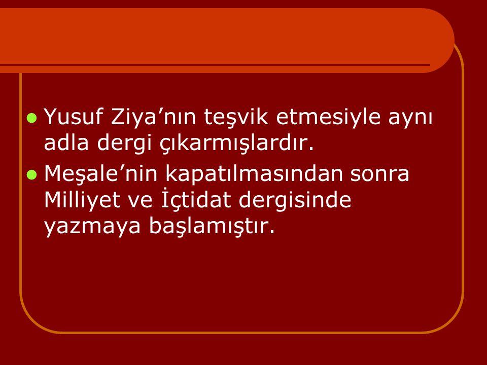 Yusuf Ziya'nın teşvik etmesiyle aynı adla dergi çıkarmışlardır. Meşale'nin kapatılmasından sonra Milliyet ve İçtidat dergisinde yazmaya başlamıştır.