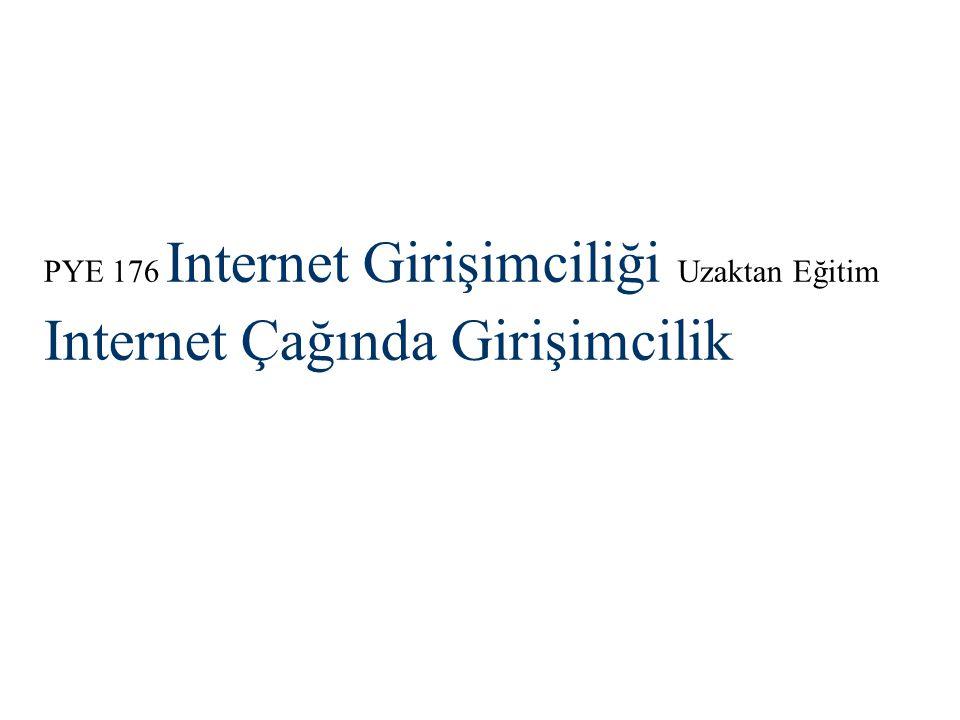 PYE 176 Internet Girişimciliği Uzaktan Eğitim Internet Çağında Girişimcilik