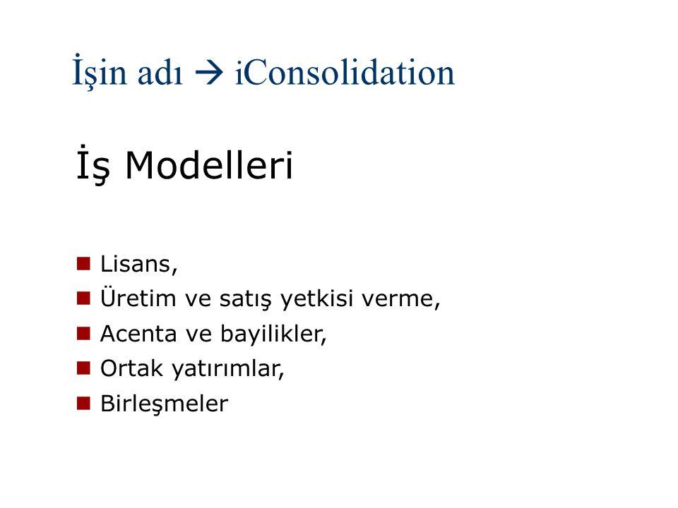 İşin adı  i Consolidation İş Modelleri Lisans, Üretim ve satış yetkisi verme, Acenta ve bayilikler, Ortak yatırımlar, Birleşmeler