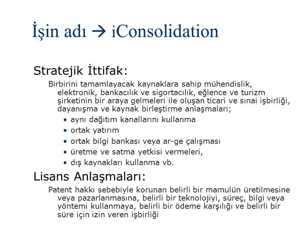 İşin adı  i Consolidation Stratejik İttifak: Birbirini tamamlayacak kaynaklara sahip mühendislik, elektronik, bankacılık ve sigortacılık, eğlence ve