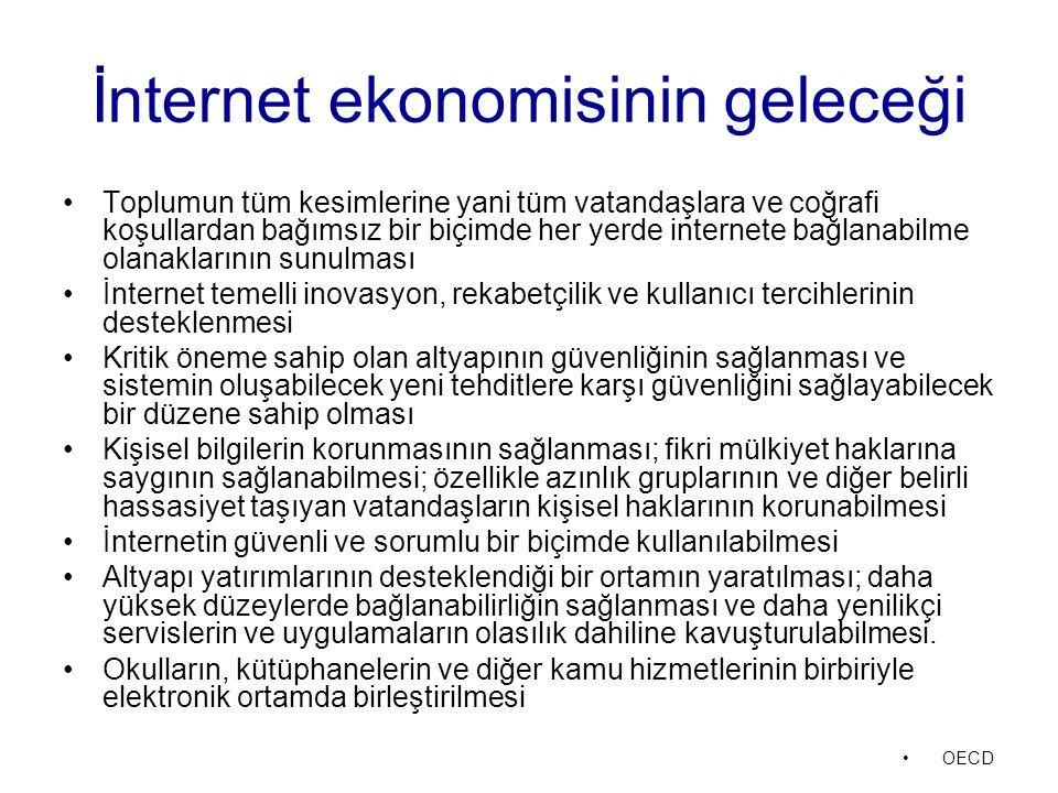İnternet ekonomisinin geleceği Toplumun tüm kesimlerine yani tüm vatandaşlara ve coğrafi koşullardan bağımsız bir biçimde her yerde internete bağlanab
