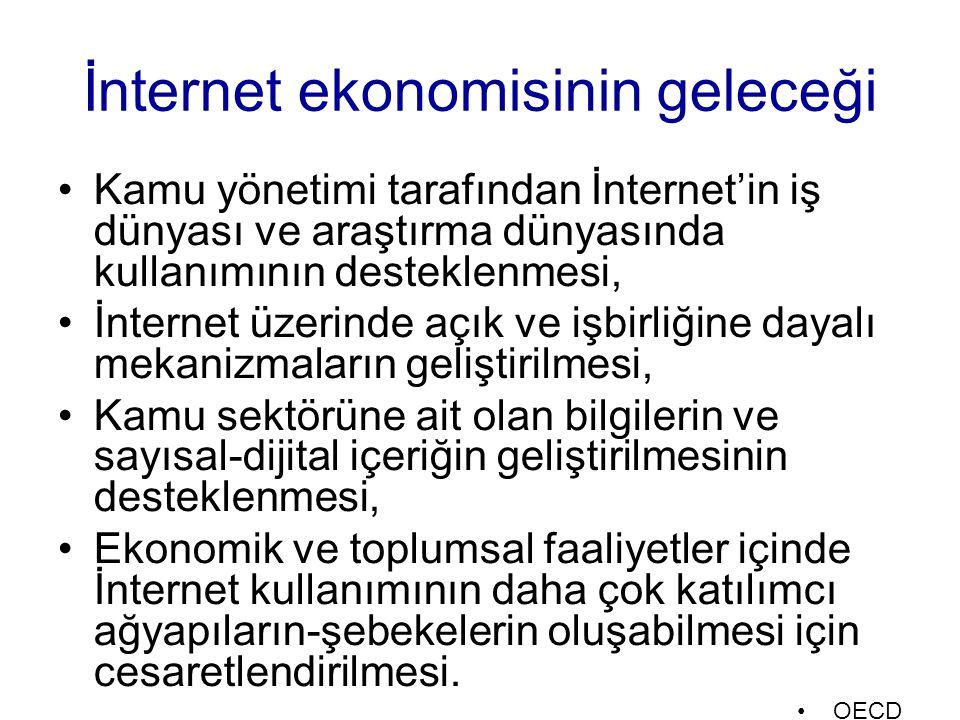 İnternet ekonomisinin geleceği Kamu yönetimi tarafından İnternet'in iş dünyası ve araştırma dünyasında kullanımının desteklenmesi, İnternet üzerinde a