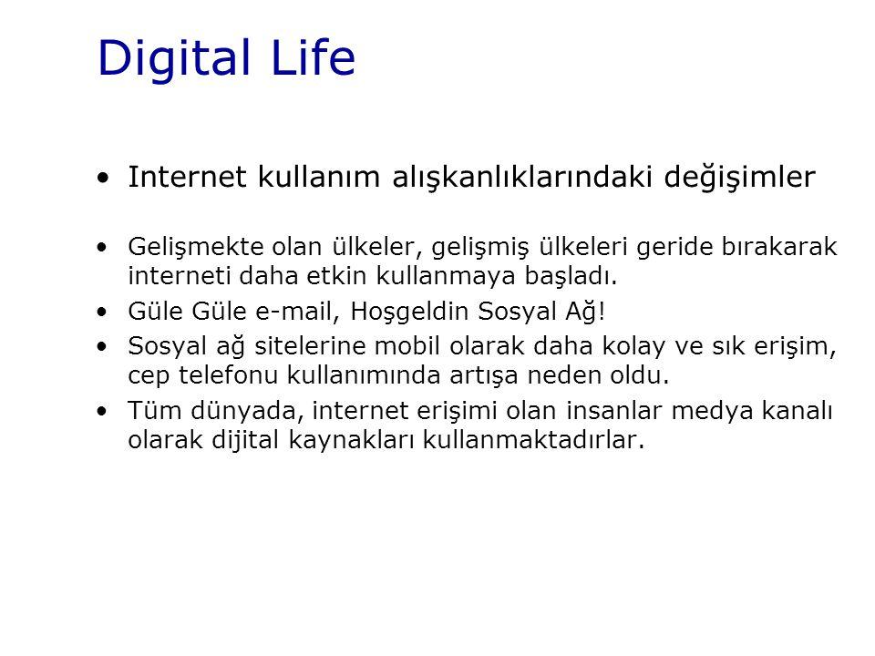 Digital Life Internet kullanım alışkanlıklarındaki değişimler Gelişmekte olan ülkeler, gelişmiş ülkeleri geride bırakarak interneti daha etkin kullanm