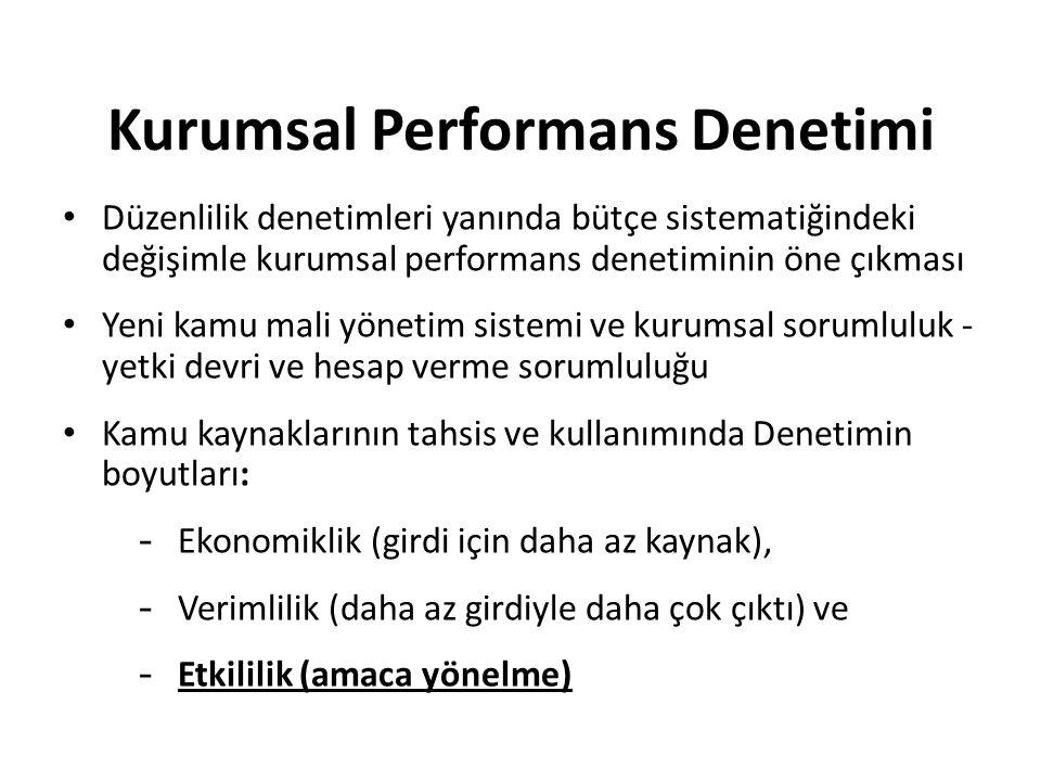 Kurumsal Performans Denetimi Düzenlilik denetimleri yanında bütçe sistematiğindeki değişimle kurumsal performans denetiminin öne çıkması Yeni kamu mal