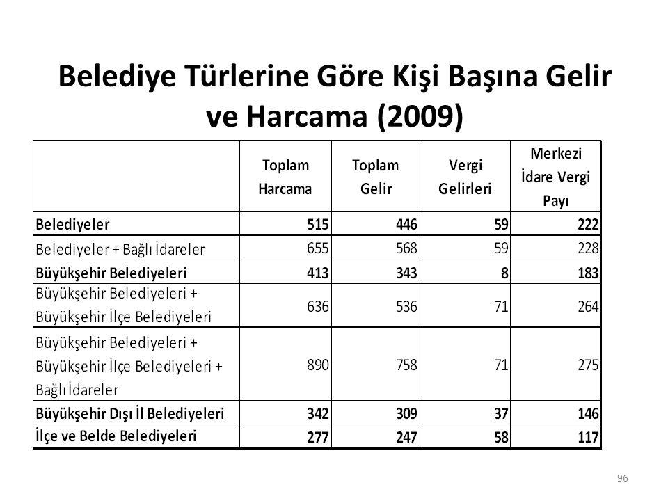 Belediye Türlerine Göre Kişi Başına Gelir ve Harcama (2009) 96