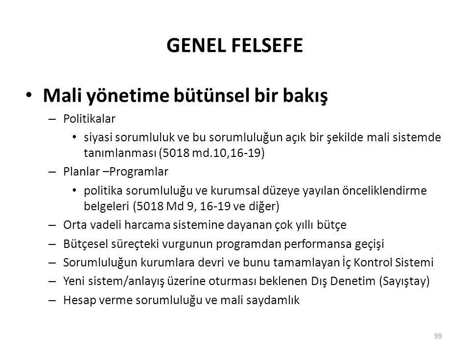 GENEL FELSEFE Mali yönetime bütünsel bir bakış – Politikalar siyasi sorumluluk ve bu sorumluluğun açık bir şekilde mali sistemde tanımlanması (5018 md