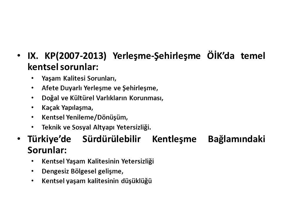 IX. KP(2007-2013) Yerleşme-Şehirleşme ÖİK'da temel kentsel sorunlar: Yaşam Kalitesi Sorunları, Afete Duyarlı Yerleşme ve Şehirleşme, Doğal ve Kültürel