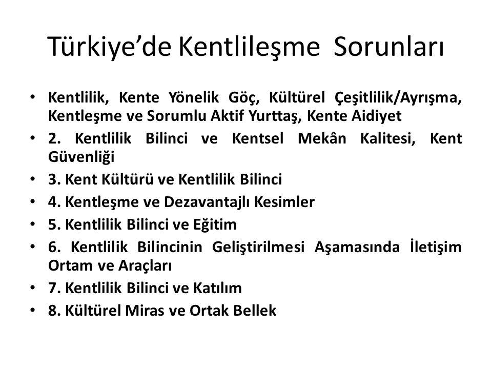 Türkiye'de Kentlileşme Sorunları Kentlilik, Kente Yönelik Göç, Kültürel Çeşitlilik/Ayrışma, Kentleşme ve Sorumlu Aktif Yurttaş, Kente Aidiyet 2. Kentl