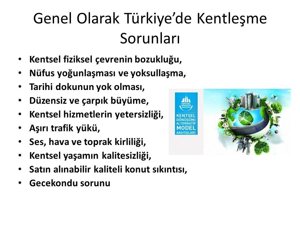 Genel Olarak Türkiye'de Kentleşme Sorunları Kentsel fiziksel çevrenin bozukluğu, Nüfus yoğunlaşması ve yoksullaşma, Tarihi dokunun yok olması, Düzensi
