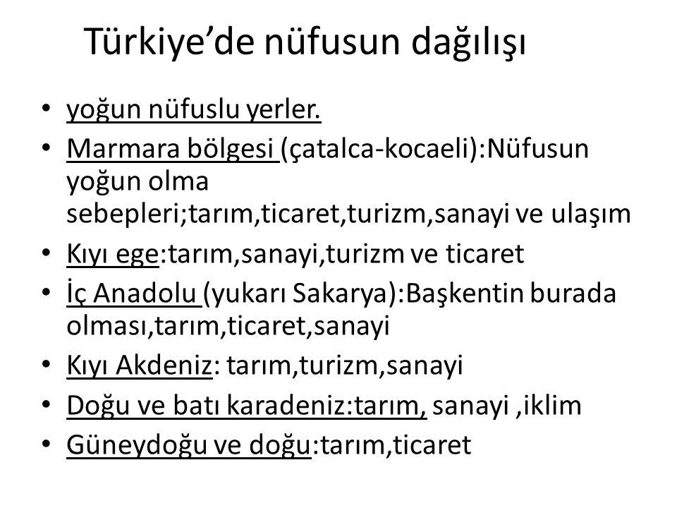 Türkiye'de nüfusun dağılışı yoğun nüfuslu yerler. Marmara bölgesi (çatalca-kocaeli):Nüfusun yoğun olma sebepleri;tarım,ticaret,turizm,sanayi ve ulaşım