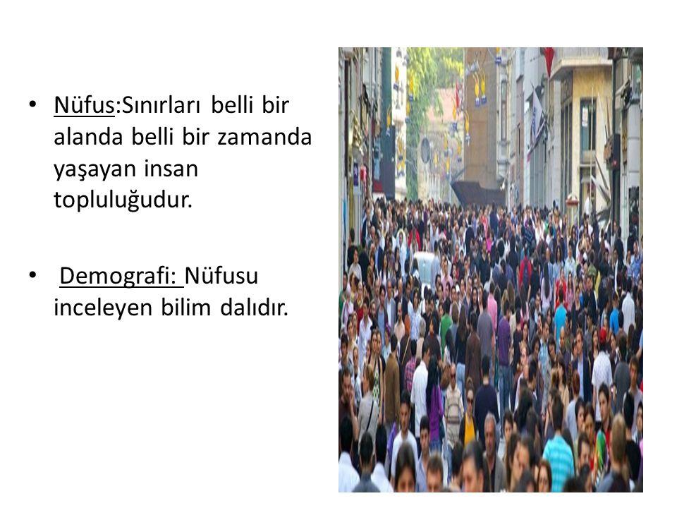 Nüfus:Sınırları belli bir alanda belli bir zamanda yaşayan insan topluluğudur. Demografi: Nüfusu inceleyen bilim dalıdır.