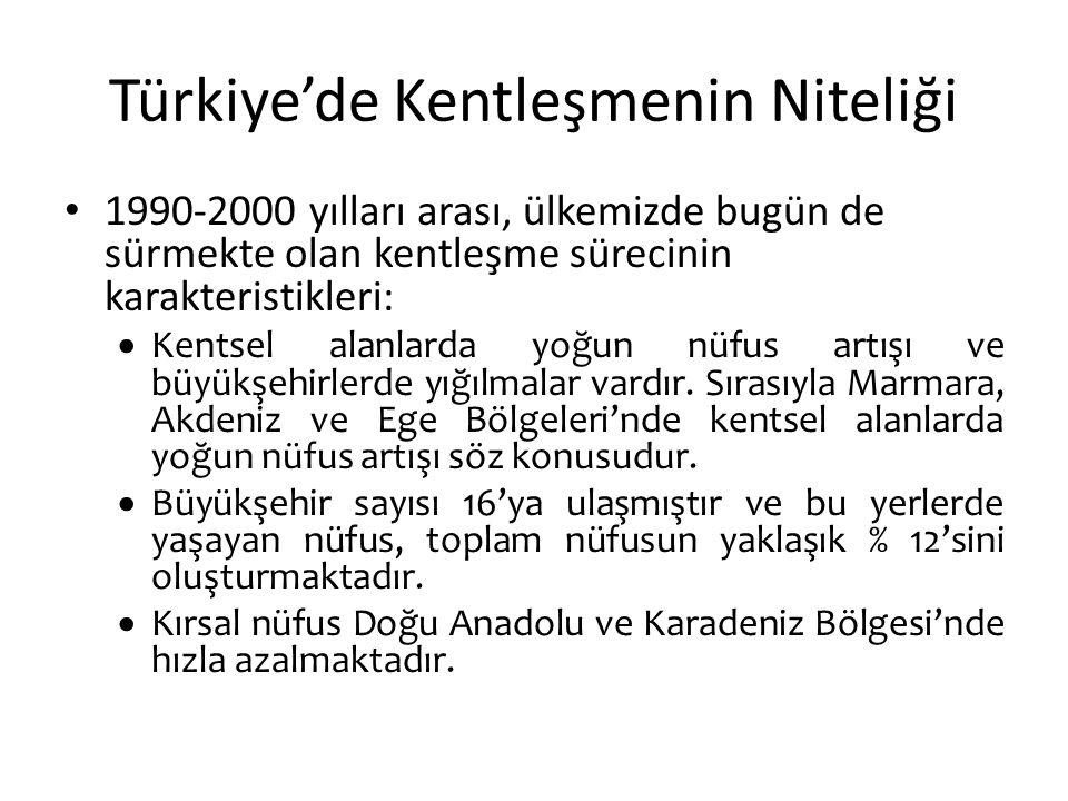 Türkiye'de Kentleşmenin Niteliği 1990-2000 yılları arası, ülkemizde bugün de sürmekte olan kentleşme sürecinin karakteristikleri:  Kentsel alanlarda