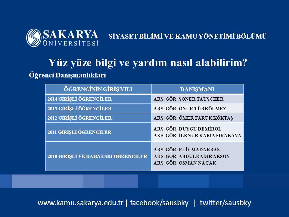 www.kamu.sakarya.edu.tr | facebook/sausbky | twitter/sausbky Öğretim Üyeleriyle nasıl görüşebilirim.