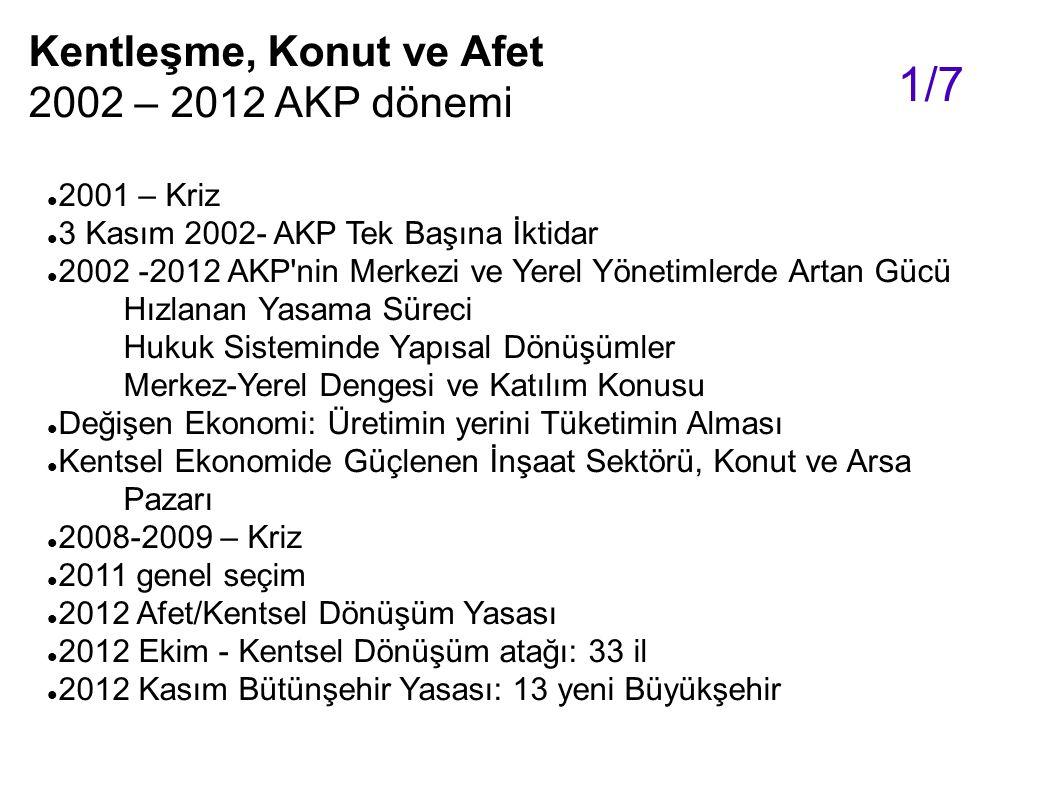 2001 – Kriz 3 Kasım 2002- AKP Tek Başına İktidar 2002 -2012 AKP'nin Merkezi ve Yerel Yönetimlerde Artan Gücü Hızlanan Yasama Süreci Hukuk Sisteminde Y