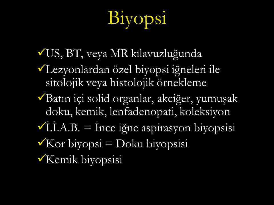 Biyopsi US, BT, veya MR kılavuzluğunda Lezyonlardan özel biyopsi iğneleri ile sitolojik veya histolojik örnekleme Batın içi solid organlar, akciğer, yumuşak doku, kemik, lenfadenopati, koleksiyon İ.İ.A.B.