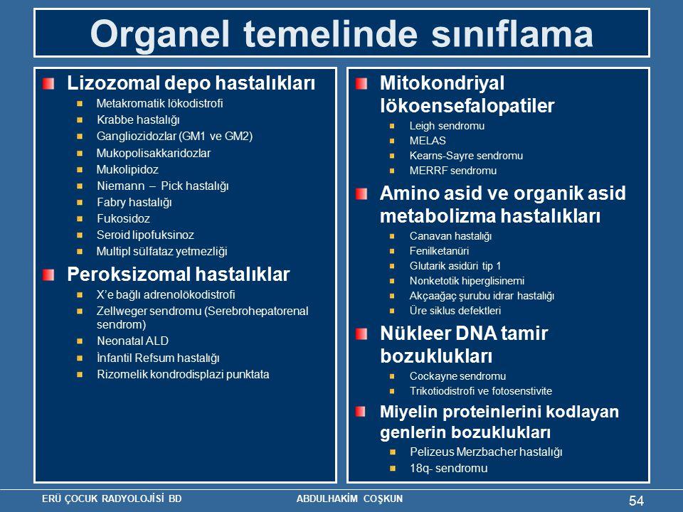 ERÜ ÇOCUK RADYOLOJİSİ BD ABDULHAKİM COŞKUN Organel temelinde sınıflama Lizozomal depo hastalıkları Metakromatik lökodistrofi Krabbe hastalığı Gangliozidozlar (GM1 ve GM2) Mukopolisakkaridozlar Mukolipidoz Niemann – Pick hastalığı Fabry hastalığı Fukosidoz Seroid lipofuksinoz Multipl sülfataz yetmezliği Peroksizomal hastalıklar X'e bağlı adrenolökodistrofi Zellweger sendromu (Serebrohepatorenal sendrom) Neonatal ALD İnfantil Refsum hastalığı Rizomelik kondrodisplazi punktata Mitokondriyal lökoensefalopatiler Leigh sendromu MELAS Kearns-Sayre sendromu MERRF sendromu Amino asid ve organik asid metabolizma hastalıkları Canavan hastalığı Fenilketanüri Glutarik asidüri tip 1 Nonketotik hiperglisinemi Akçaağaç şurubu idrar hastalığı Üre siklus defektleri Nükleer DNA tamir bozuklukları Cockayne sendromu Trikotiodistrofi ve fotosenstivite Miyelin proteinlerini kodlayan genlerin bozuklukları Pelizeus Merzbacher hastalığı 18q- sendromu 54