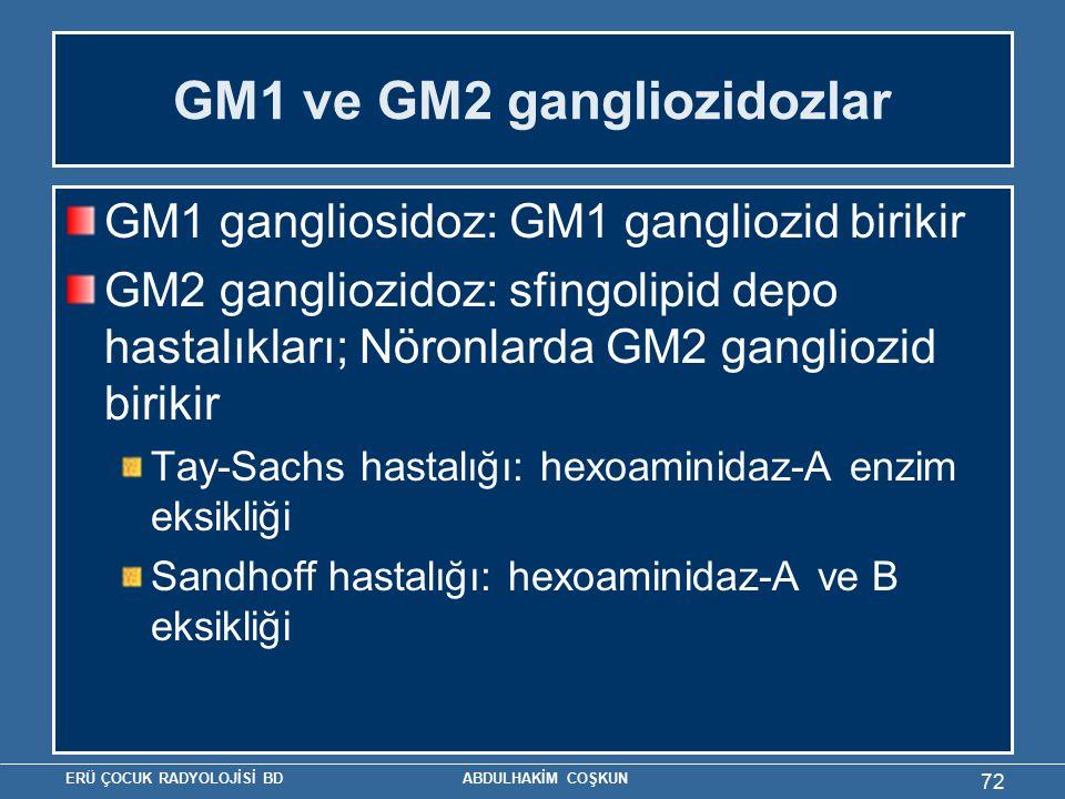 ERÜ ÇOCUK RADYOLOJİSİ BD ABDULHAKİM COŞKUN GM1 ve GM2 gangliozidozlar GM1 gangliosidoz: GM1 gangliozid birikir GM2 gangliozidoz: sfingolipid depo hastalıkları; Nöronlarda GM2 gangliozid birikir Tay-Sachs hastalığı: hexoaminidaz-A enzim eksikliği Sandhoff hastalığı: hexoaminidaz-A ve B eksikliği 72