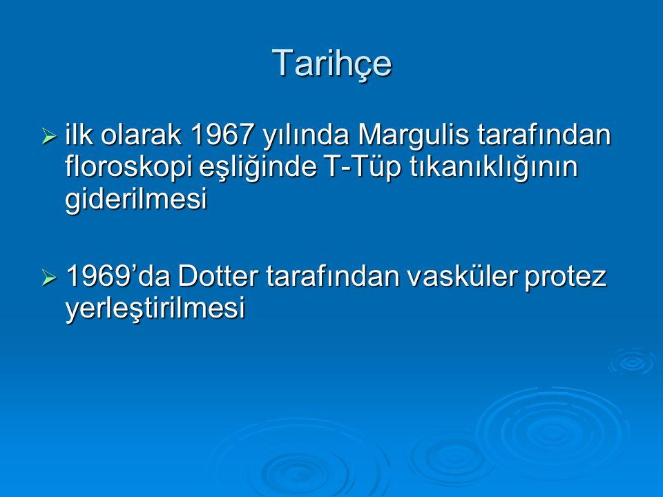 Tarihçe  ilk olarak 1967 yılında Margulis tarafından floroskopi eşliğinde T-Tüp tıkanıklığının giderilmesi  1969'da Dotter tarafından vasküler protez yerleştirilmesi