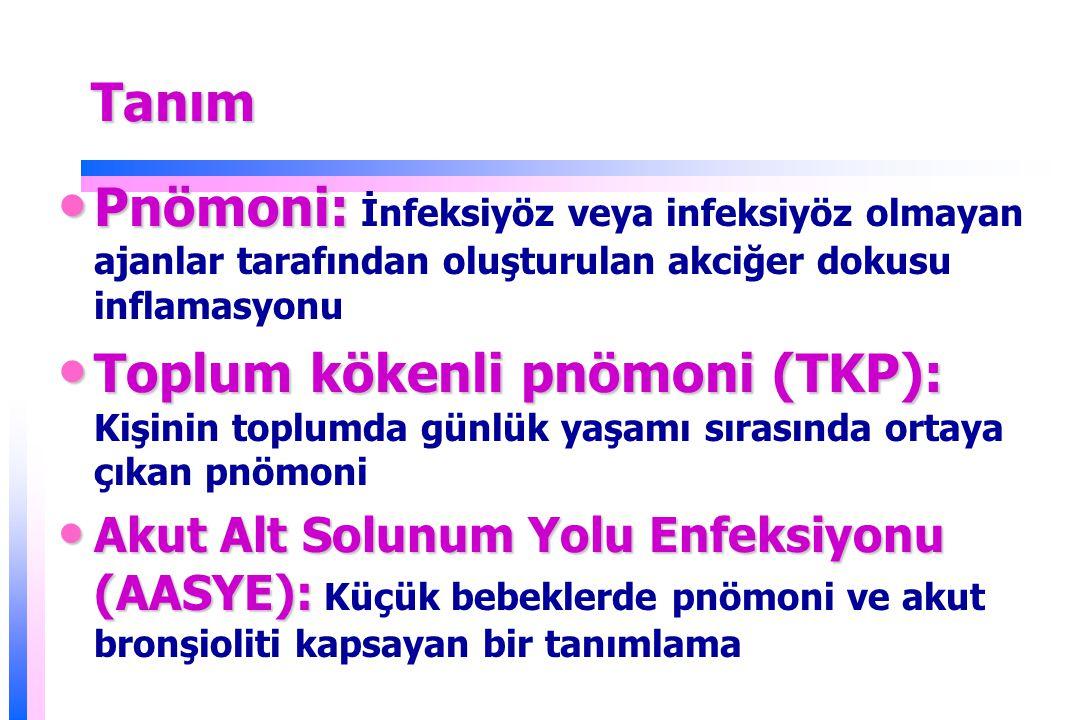 TanımTanım Pnömoni: Pnömoni: İnfeksiyöz veya infeksiyöz olmayan ajanlar tarafından oluşturulan akciğer dokusu inflamasyonu Toplum kökenli pnömoni (TKP): Toplum kökenli pnömoni (TKP): Kişinin toplumda günlük yaşamı sırasında ortaya çıkan pnömoni Akut Alt Solunum Yolu Enfeksiyonu (AASYE): Akut Alt Solunum Yolu Enfeksiyonu (AASYE): Küçük bebeklerde pnömoni ve akut bronşioliti kapsayan bir tanımlama