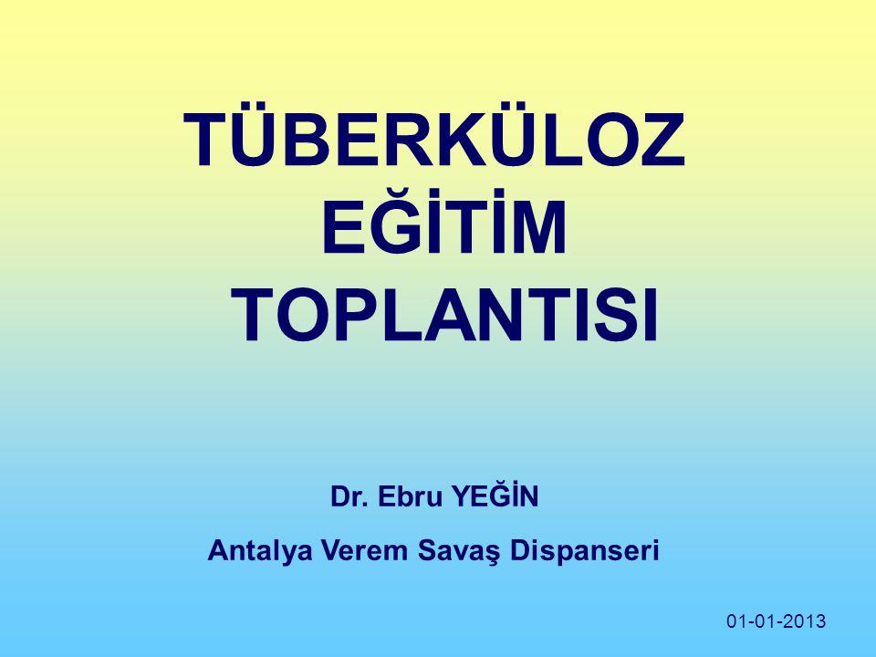 TÜBERKÜLOZ EĞİTİM TOPLANTISI Dr. Ebru YEĞİN Antalya Verem Savaş Dispanseri 01-01-2013