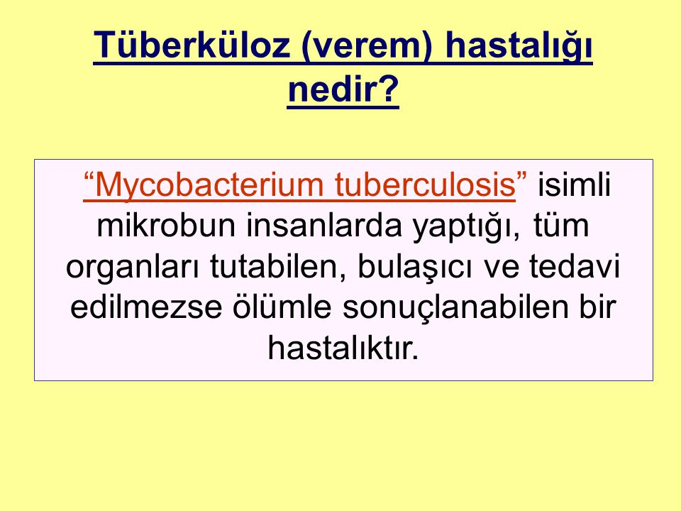 Mycobacterium tuberculosis isimli mikrobun insanlarda yaptığı, tüm organları tutabilen, bulaşıcı ve tedavi edilmezse ölümle sonuçlanabilen bir hastalıktır.