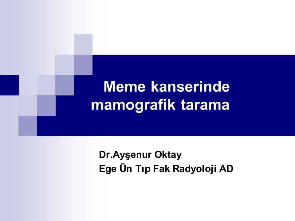 Meme kanserinde mamografik tarama Dr.Ayşenur Oktay Ege Ün Tıp Fak Radyoloji AD