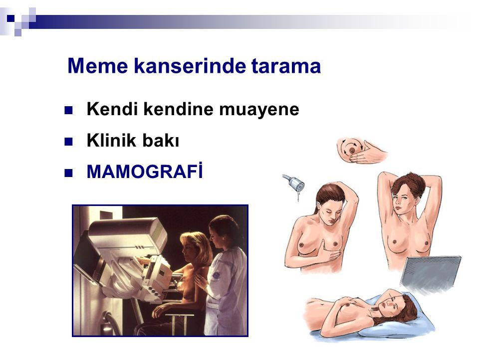 Meme kanserinde tarama Kendi kendine muayene Klinik bakı MAMOGRAFİ