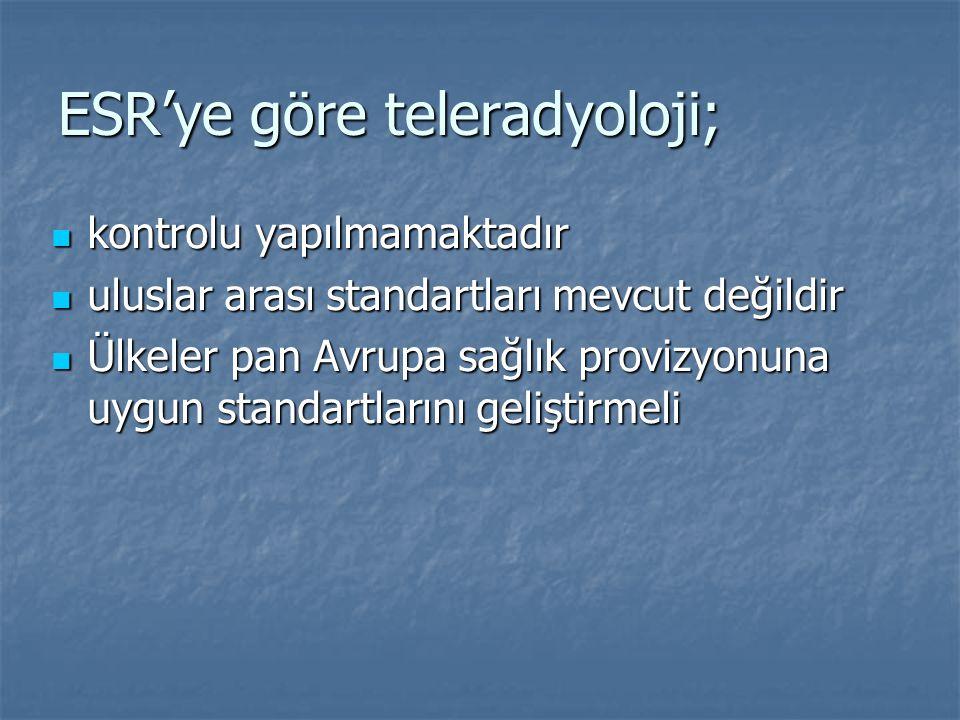 ESR'ye göre teleradyoloji; kontrolu yapılmamaktadır kontrolu yapılmamaktadır uluslar arası standartları mevcut değildir uluslar arası standartları mev