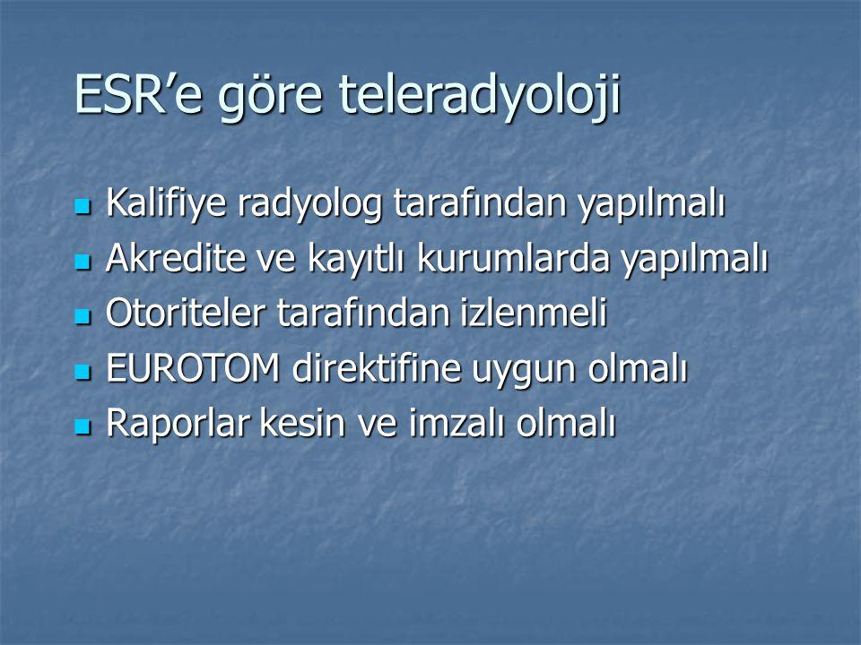 ESR'e göre teleradyoloji Kalifiye radyolog tarafından yapılmalı Kalifiye radyolog tarafından yapılmalı Akredite ve kayıtlı kurumlarda yapılmalı Akredi
