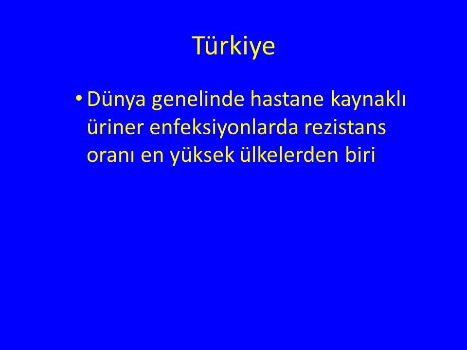 Türkiye Dünya genelinde hastane kaynaklı üriner enfeksiyonlarda rezistans oranı en yüksek ülkelerden biri