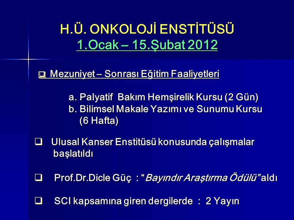 """H.Ü. ONKOLOJİ ENSTİTÜSÜ 1.Ocak – 15.Şubat 2012  Prof.Dr.Dicle Güç : """"Bayındır Araştırma Ödülü"""" aldı  SCI kapsamına giren dergilerde : 2 Yayın  Ulus"""