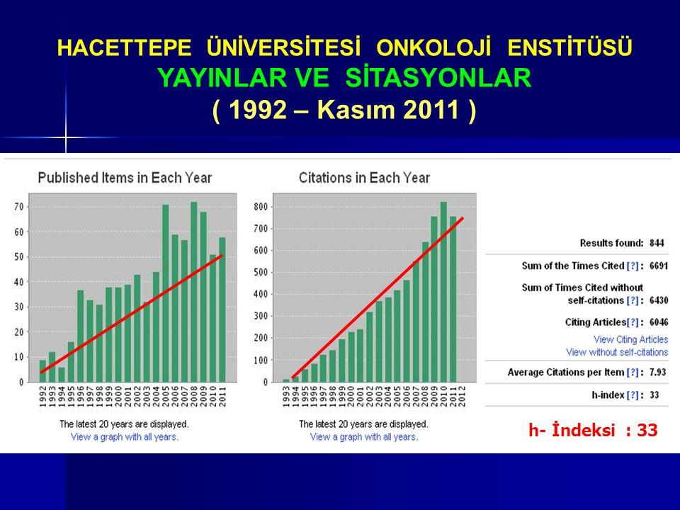 HACETTEPE ÜNİVERSİTESİ ONKOLOJİ ENSTİTÜSÜ YAYINLAR VE SİTASYONLAR ( 1992 – Kasım 2011 ) h- İndeksi : 33
