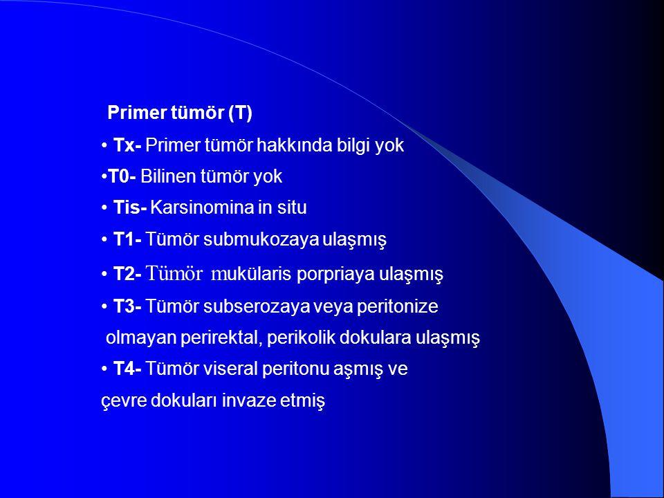 Primer tümör (T) Tx- Primer tümör hakkında bilgi yok T0- Bilinen tümör yok Tis- Karsinomina in situ T1- Tümör submukozaya ulaşmış T2- Tümör m ukülaris