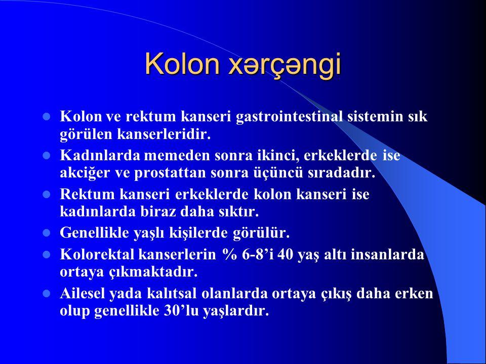 Kolon xərçəngi Kolon ve rektum kanseri gastrointestinal sistemin sık görülen kanserleridir. Kadınlarda memeden sonra ikinci, erkeklerde ise akciğer ve