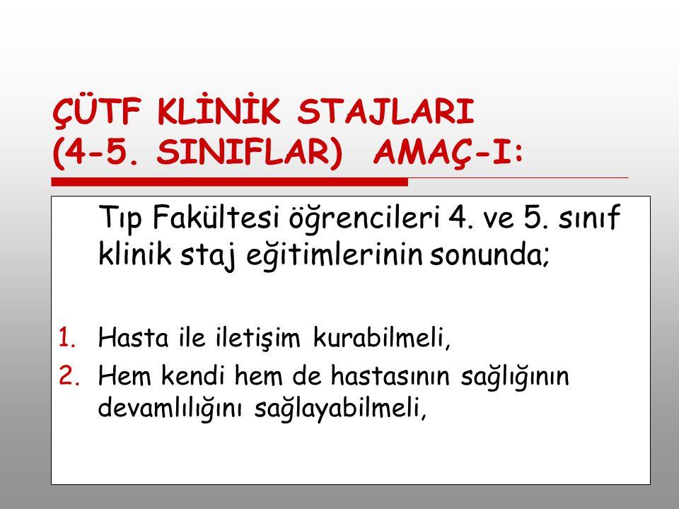 ÇÜTF KLİNİK STAJLARI (4-5.SINIFLAR) AMAÇ-I: Tıp Fakültesi öğrencileri 4.