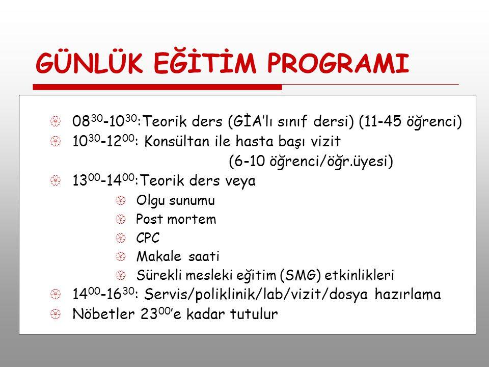 GÜNLÜK EĞİTİM PROGRAMI  08 30 -10 30 :Teorik ders (GİA'lı sınıf dersi) (11-45 öğrenci)  10 30 -12 00 : Konsültan ile hasta başı vizit (6-10 öğrenci/öğr.üyesi)  13 00 -14 00 :Teorik ders veya  Olgu sunumu  Post mortem  CPC  Makale saati  Sürekli mesleki eğitim (SMG) etkinlikleri  14 00 -16 30 : Servis/poliklinik/lab/vizit/dosya hazırlama  Nöbetler 23 00 'e kadar tutulur