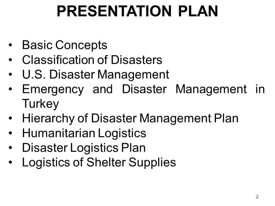 3 MAIN CONCEPTS EmergencyDisaster Humanitarian Logistics Logistics Management
