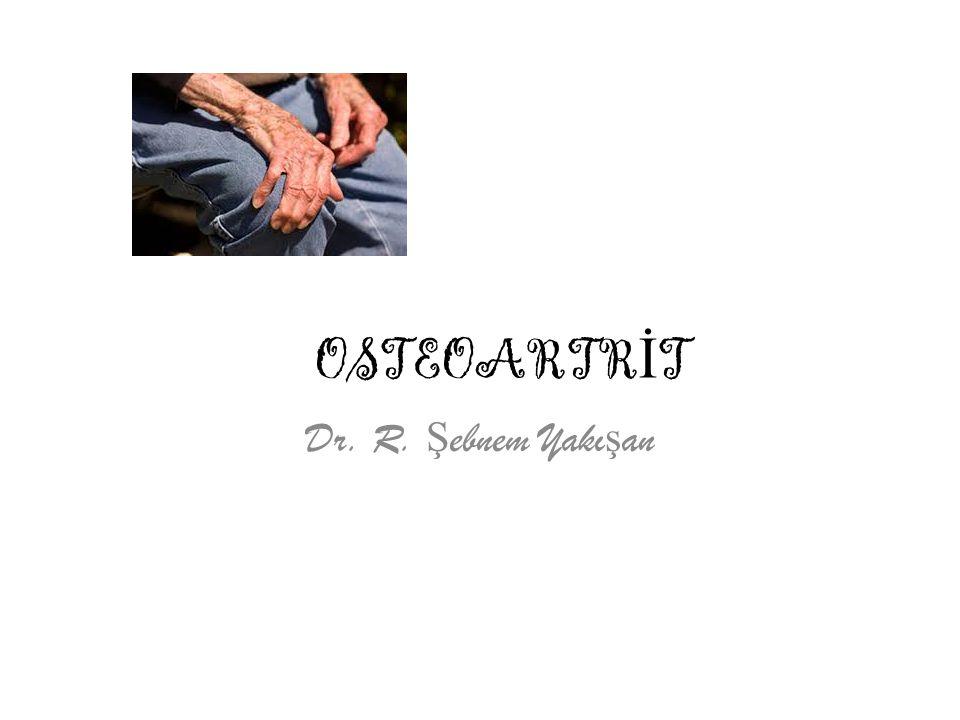 Osteoartritli hastanın izlenmesine önerilen yaklaşımlar 1- Osteoartrit konusunda bireyin eğitimi 2- Etkilenen eklemlerin aşırı yüklenmeden korunması * Obezitenin önlenmesi * Uygun olmayan günlük ya da mesleki aktivitelerin modifiye edilmesi * Baston kullanımı * Şok absorbe eden, yumuşak tabanlıkların kullanımı * Bacak uzunluk farklarının düzeltilmesi 3- Aerobik kapasitenin korunması 4- Eklem hareket ve stabilitesinin korunması * Düzenli hareket * Kasları güçlendirmek için hareket 5- Ağrı ve tutukluluğun azaltılması * Fizik tedavi * İntermitan analjezik kullanımı * Topikal steroid olmayan anti-inflamatuvar ilaçlar * Steroid olmayan anti-inflamatuvar ilaçlar * İntraartiküler enjeksiyon * Transkutanöz elektriksel sinir stimulasyonu 6- Ağrı ve psikososyal destek * Depresyon, anksiyete ya da fibromyalji gibi durumların tedavisi * Bireyin yaşadığı çevrede düzenlemelerin yapılması 7- Cerrahi * Persistan ciddi ağrı