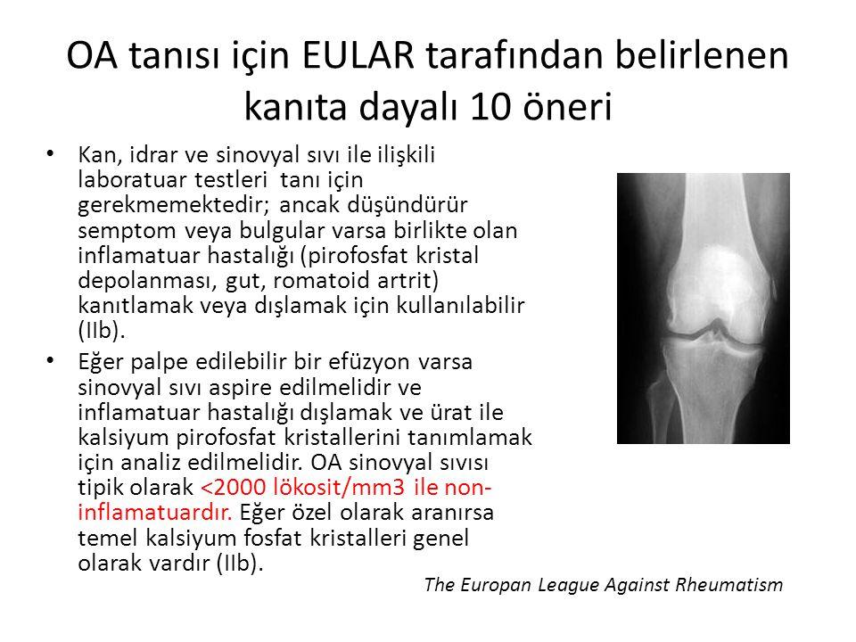 OA tanısı için EULAR tarafından belirlenen kanıta dayalı 10 öneri Kan, idrar ve sinovyal sıvı ile ilişkili laboratuar testleri tanı için gerekmemekted