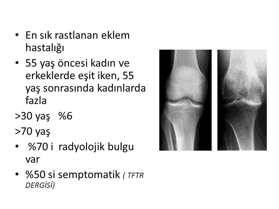 ACR KRİTERLERİ KALÇA (KLİNİK ve RADYOLOJİK) Bir önceki ayın çoğu günlerinde kalça ağrısı ESR 20mm/saat veya altında olacak Femur ve/veya asetabulumda (radyografik olarak) osteofitler Radyografik olarak kalça eklem aralığında daralma 1,2,3 veya 1,2,4 veya 1,3,4 varsa OA