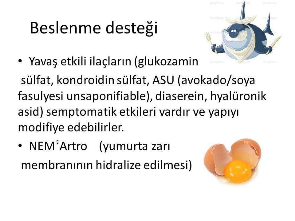 Beslenme desteği Yavaş etkili ilaçların (glukozamin sülfat, kondroidin sülfat, ASU (avokado/soya fasulyesi unsaponifiable), diaserein, hyalüronik asid