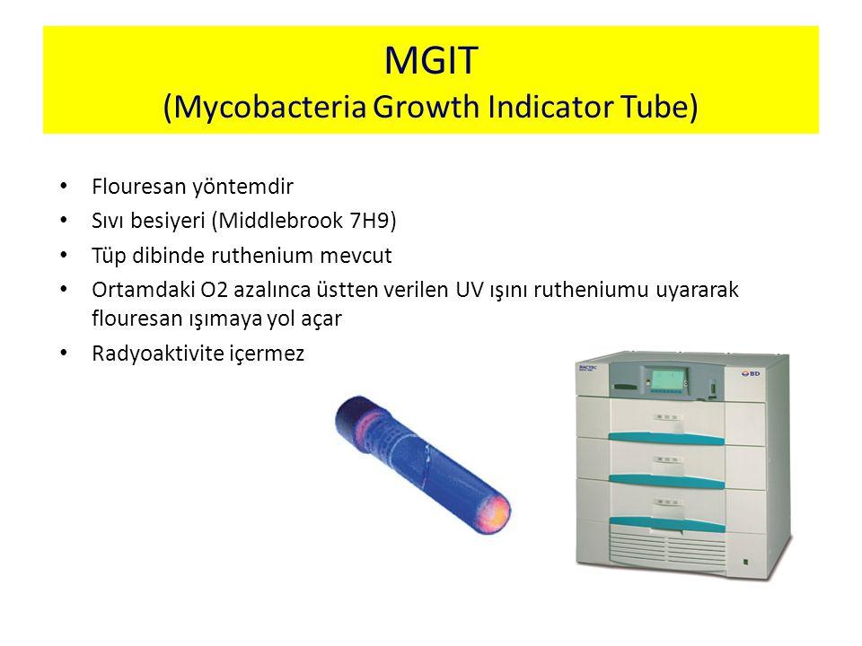 MGIT (Mycobacteria Growth Indicator Tube) Flouresan yöntemdir Sıvı besiyeri (Middlebrook 7H9) Tüp dibinde ruthenium mevcut Ortamdaki O2 azalınca üstte