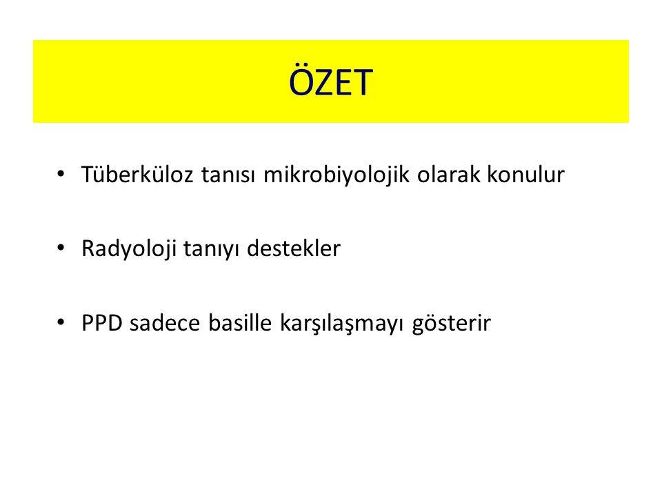 ÖZET Tüberküloz tanısı mikrobiyolojik olarak konulur Radyoloji tanıyı destekler PPD sadece basille karşılaşmayı gösterir