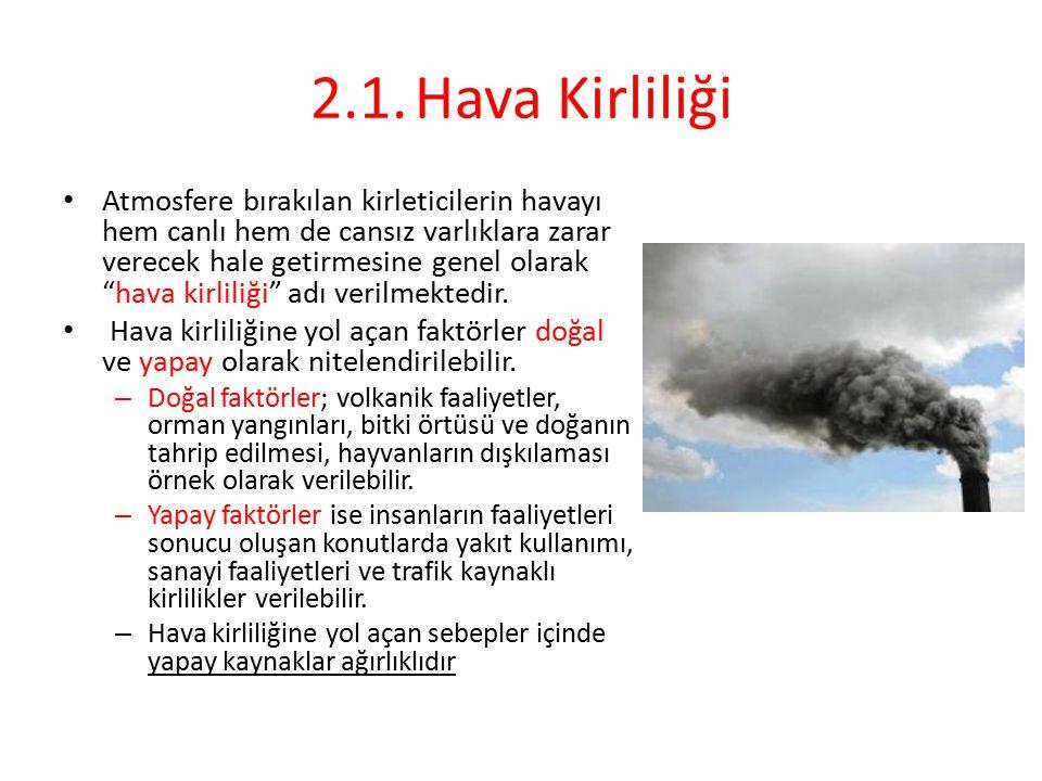 """2.1.Hava Kirliliği Atmosfere bırakılan kirleticilerin havayı hem canlı hem de cansız varlıklara zarar verecek hale getirmesine genel olarak """"hava kirl"""