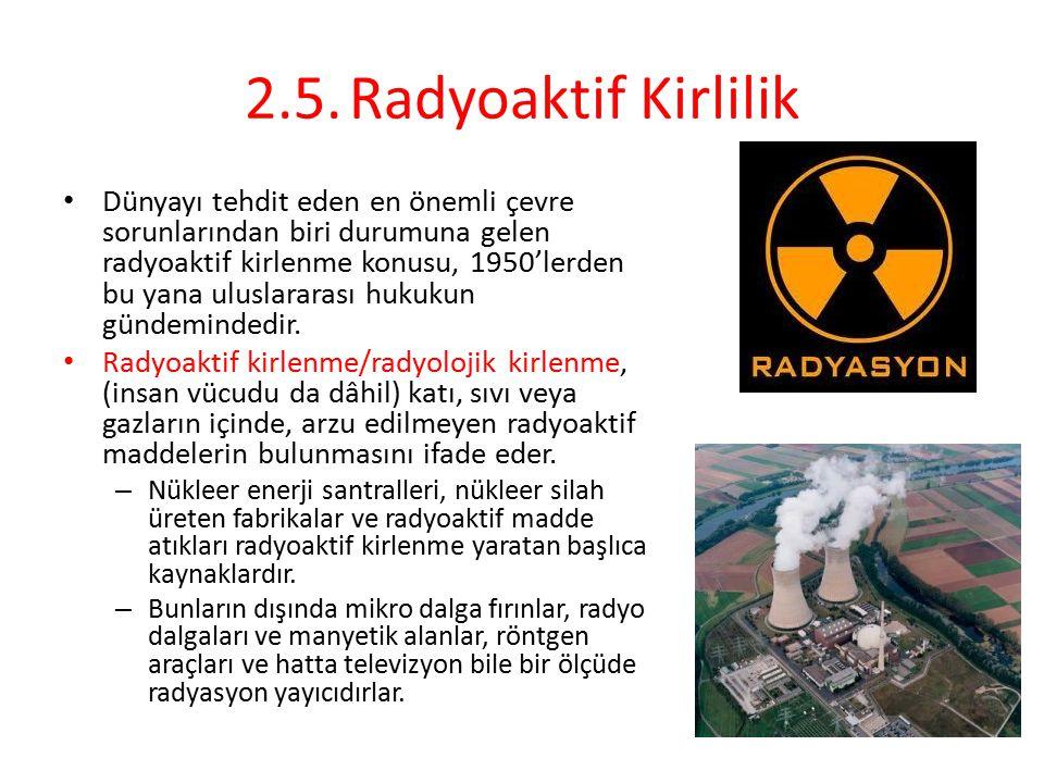 2.5.Radyoaktif Kirlilik Dünyayı tehdit eden en önemli çevre sorunlarından biri durumuna gelen radyoaktif kirlenme konusu, 1950'lerden bu yana uluslara