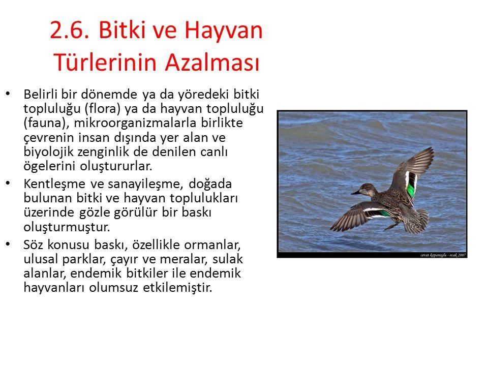 2.6.Bitki ve Hayvan Türlerinin Azalması Belirli bir dönemde ya da yöredeki bitki topluluğu (flora) ya da hayvan topluluğu (fauna), mikroorganizmalarla