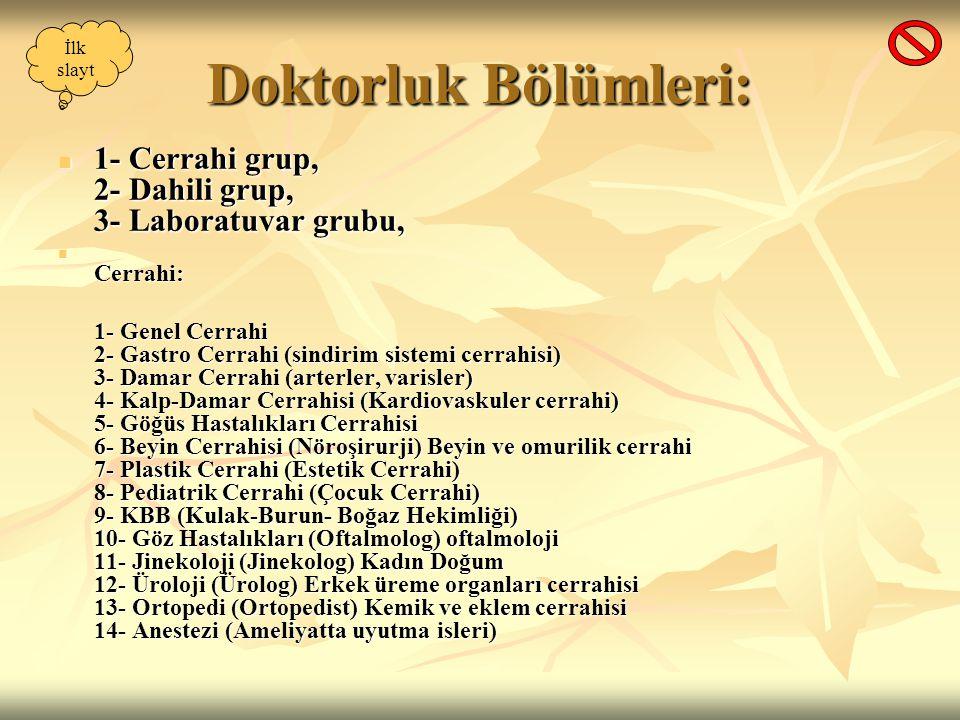 Doktorluk Bölümleri: 1- Cerrahi grup, 2- Dahili grup, 3- Laboratuvar grubu, 1- Cerrahi grup, 2- Dahili grup, 3- Laboratuvar grubu, Cerrahi: Cerrahi: 1