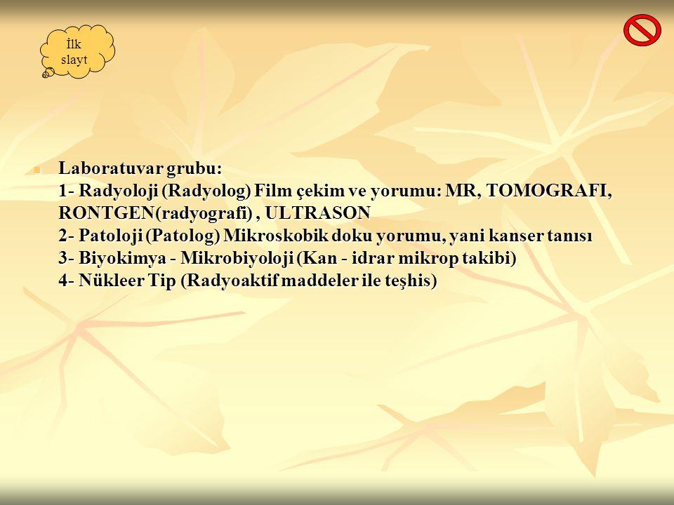 Laboratuvar grubu: 1- Radyoloji (Radyolog) Film çekim ve yorumu: MR, TOMOGRAFI, RONTGEN(radyografi), ULTRASON 2- Patoloji (Patolog) Mikroskobik doku y